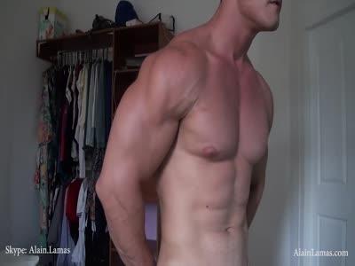 Jock Cums On Biceps