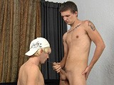 gay porn Angel And Trevor || With His Girlfriend Just Outside the Room, Trevor Has His Enormous Uncut Cock Serviced by Another Guy and Gets Close to His First Taste of Dick.