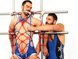 gay porn Dolan Wolf And Bob Hag || Bound and gagged Dolan Wolf is lashed to the BJ studio rig where Bob Hager can easily get to his manly cock and balls. Bob has a new electrical toy and wants to test it out on Dolans awaiting private parts. Bob screws the electrical ball crushing pad firmly on Dolans nuts and turns up on the juice. Dolan moans louder and louder as the electricity is turned up pain turns into pleasure as we watch these two strapping jocks go at it. The only relief Dolan gets is to suck Bobs throbbing cock.
