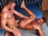 gay porn Warehouse Fuck || High Performance Men is pleased to bring together two powerhouse men Angelo Marconi and Fabio Stallone in WAREHOUSE FUCK. Angelo and Fabio begin with kissing and groping each other until there hard cocks cannot be restrained by their jock-straps. Angelo wastes no time in getting on his knees and taking the entire length of Fabios massive uncut cock down his throat. Fabio face fucks Angelo resulting in a lot of spit and slobber that ads to both their excitement. Soon Fabio is on his knees returning the favor to Angelos hard uncut cock. He then turns Angelo around and pushes him face down and ass up as he buries his face deep in Angelos beautiful ass. Angelo moans and begs Fabio to eat his ass and get it ready to be fucked. Fabio then waists no time in standing Angelo up so he can plow his ass with his massive cock from behind. Angelo loves the pounding and begs for Fabio to fuck him harder. Fabio then lies down on the ground so that Angelo can ride is cock and continues to fuck him like the Itallian Stallion that he is. With Angelo on the ground and on his back, Fabio fucks his ass so hard and deep that Angelo cannot hold back any longer as he shoots a nice thick load of cum all over his stomach. Fabio then shoots a nice big load all over Angelos cock and balls. This is one fucking hot pairing! Enjoy