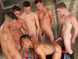 gay porn Pack Attack 8 - Scene  || Muscular pig-bottom J.R. Bronson wants all the huge cock he can get so he gets on his knees and demands to be fed. Doug Acre answers his call first. The young blond stud drops his jock to let his thick 8-incher flop into J.R.s mouth. J.R. screams for more so James Ryder steps up and feeds J.R. his giant cock. Hearing J.R.s cries for cock, Levi Madison comes in and shoves his monster down the greedy studs throat. After getting a taste, J.R. continues to order more dick so Luke Milan comes in. The good-looking young hunk pulls out his thick tool and lets J.R. get his fill until Mario Costa comes in. Mario whips out his 10′ horse cock and J.R. goes to town. Now that hes surrounded by every huge cock in town J.R. works his way around the pack, sucking each dick as deep as he can take it. His expert oral skills are rewarded when every one of the hot tops shoots his load all over J.R.s washboard abs, chest and legs.