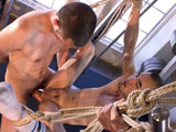 gay porn Adam Kim And Jeof Pier || Adam Kim is Jeof Piersons trainer. Each of these toned, slightly hairy youths harbors sexual thoughts about the other as they work out. Adams fantasy is that his wrists and ankles are bound behind him; hes wearing a jockstrap while being face-fucked by Jeofs long, hard cock. Adam closes his eyes and saliva pours down his face as he tries to swallow the meat being forced into his gullet. Jeof fantasizes that Adam is suspended naked from one of the weightlifting machines in a rope sling. Adams body swings back and forth; Jeofs tongue meets Adams hole on the forward motion of each swing. Grabbing Adam behind the thighs, Jeof pull his hind end forwards, spreads his cheeks and buries his face in the opening. Jeofs cock soon follows, with Adam happily helpless to prevent the anal assault as his sling continues to rock. Approaching the point of no return, Jeof unties Adam and lays him on the floor. They jack off fiercely together, each unaware of the others fantasy.
