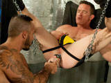 Experienced pig-bottom Jackson Lawless needs a real pro when its time to get his hole plowed. Thats why we called in Alessio Romero, the tattooed, masculine top who knows how to satisfy a hungry butthole. Jackson kicks back in a sling, giving Alessio an all-access pass to his ass. Alessio takes his time selecting the right toy; a hefty foot-long fake cock guaranteed to get Jackson ready for a hardcore anal assault. Once Jacksons properly stretched out, Alessio grabs a mammoth butt plug with a chain on the end. He mercilessly shoves the giant weapon in and out of Jacksons ass. Alessios expert assplay makes Jacksons cock rock hard. He pulls out his dick and jacks off while Alessio probes his hole.