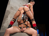 gay porn The Dom - Scene 5 || Franco Ferarri has been chained to the restraining wall waiting to be dominated by Jordano Santoro. Jordano, wearing an ominous gas mask, slowly begins massaging the horny bottoms bubble-butt. Franco begs be fucked but Jordano takes charge. He pulls out a flogger and warms up Jordanos ass before taking him down and forcing him to service his thick Latin cock. Jordano grabs him by the back of his head and force-fucks Francos face until he gags. Finally ready to take Francos ass Jordano fingers his hole then makes him sit down on his huge dick. Franco bounces up and down on his masters meat then pulls out and shoots a load all over Jordanos gas mask. Jordano jacks a load out of his own cock then orders Franco to lick his mask clean.