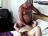 gay porn Servicing Big Daddy || a Hairy Big Daddy With a Big Round Belly Gets Ass Serviced by His Hairy Bear!