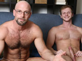 gay porn Natural Born Cocksucke || If you like your straight men hairy and muscular, then Dirk is your man. His perfect bodybuilders physique is covered with just the right amount of hair. At 30, his bubble butt, big pecs and arms along with a mouth watering 8'' cock and huge balls makes him a very sexy DILF. Our Bait boy is a BaitBuddies.com returning champion convert, Arkansas country boy, Brian Bonds. Brian's muscular chest has a light covering of hair, he has great arms, legs and ass and also sports a big 8'' piece of man meat. Brian arrived at BaitBuddies.com exactly one year ago and claimed to be straight with a kinky side. Since that video shoot with Bait guy Wally Sailor, Brian has expanded his sexual horizons and gone on to experiment with that kinky side. Now he's switched from top to bottom and loves nothing more than getting a great fucking. The sex between Dirk and Brian starts with a tongue enhanced make out session initiated by Brian - Dirk offers little to no resistance as he quickly becomes a participating partner - thrusting his tongue right back into Brian's hot, wet mouth. This is followed by Brian sucking Dirk's big cock. The boys then switch places and Dirk loses his hesitancy quickly as he's deep-throating and gagging on Brian's dick like he can't get enough. He truly is a natural born cocksucker. When it comes time fuck, Dirk is having some difficulty in keeping it up - he says it's his nerves. So, Caruso let's him continue to suck Brian's luscious, glistening cock. When Brian is ready to cum, without saying anything, he maneuvers Dirk into a kneeling position and this natural cock hound just opens his mouth and waits for his reward.