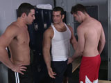 Marcus Ruhl is instantly hard at the sight of his ex boyfriend Jack King. So much that he fails to notice Jack's new boyfriend, Duncan Black. Duncan doesn't mind the snub and in fact gets to work on Marcus and in turn instigates one of the hottest 3ways in MEN.COM history!