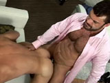 Cocky Tv presenter Rogan richards is back taking advantage of the new boy on set. Sexy young Dani Demon is the new floor manager and Rogan wastes no time in abusing his celebrity status to teach the shy spaniard a few tricks of the trade.