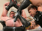 Jackson Lawless sits in a barber chair with his hole thrust in the air, waiting for a serious hole busting session with Jordano Santoro. Santoro whips out a giant turkey baster full of lube and fills Lawless gaping hole, preparing it for his barrage of butt toys. Santoro grabs a foot-long schlong with a tiny tip that gets bigger toward the base. In no time Lawless has proven he can take the whole thing so Santoro upgrades to a heavier, fatter fake cock that really puts Lawless to the test. He slams the giant weapon deeper and deeper then forces Lawless to take over so Santoro can pull out his fat Latin dick and jack off.