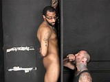 gay porn Ace At The Gloryhole || Ace Sticks His Cock Through the Hole, and the Pledgemaster Slips It In His Mouth. He Sucks Ace's Shaft and Balls Until He's Fully Hard. What a Grower! the Pledgemaster Lubes Up Ace's Monster Cock and Jacks and Sucks Until Ace Unloads In His Mouth and All Over His Beard.