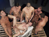 gay porn Pack Attack 7 Troy Dan || Troy Daniels lies on his back surrounded by the pack of horse-hung studs who take turns fucking his mouth and ass. But a cock in each hole isnt enough for Troy; he needs one in each hand too. The pack moves around the cock-hungry bottom, taking turns plowing his greedy hole until they cant take it any more. The pack urges each other on as one at a time they pull out and unload, glazing Troy in gobs of creamy white cum. Covered in sweat and jizz, Troy realizes he has finally exhausted the gangbangers! He pulls out and jacks his own rock-hard cock until he blows.