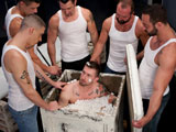 gay porn Pack Attack 7 Troy Dan || A crate marked fragile shows up at the warehouse and the pack moves in. They pry it open to discover Troy Daniels inside wearing only a jockstrap and a smile. The gang drags Troy out of the crate and immediately beings probing his big bubble-butt with their fingers and tongues. The relentless assplay drives all the men crazy, most of all Troy, who tries to suck the guys cocks right through their jeans. Finally the pack pulls out their hard cocks; there isnt one under 8′ in the entire group! Troy moves around, sucking and jacking each studs dick like a true cock-pig. The men strip naked and stand in a circle and grab Troys head, pushing him down on their huge dicks until he gags...