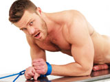 gay porn Landon Conrad || Bound Jock Landon Conrad is securely tied down and stretched on a shiny metal table in just a wrestling singlet. He thrashes and turns about sporting a huge erection that makes an impressive bulge in the nylon singlet. Next the singlet is removed exposing his massive boner as he continues to struggle. Unable to touch his own dick and frustrated he humps the table until he is finally able to shoot his load!