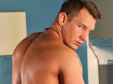 gay porn Cody Jo || Cody Jo is a corn fed country cop from the midwest with a open mind and a carefree attitude. When hes not busting the bad guys, this hunk of man meat is looking for fun any way he can get it: hanging with friends, showing off his guns, or just stripping down for a little late night skinny dipping. Here we find him winding down during a boring stretch of surveillance, stealing away for a little private relaxation. Stripping out of his uniform, he reveals his pierced cock as he begins to pull and tug on it, his cock growing in the basement shadows. Stroking it with intent, he bends over and pushes his dick through his legs as he thrusts his hips back and forth, looking over his shoulder as his back ripples, before reclining on a table and unleashing a massive splash of cop jizz all over his bare stomach.