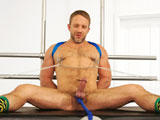 gay porn Dirk Caber || Dirk Caber has really sensitive nipples so we thought wed use them and abuse them. We start off light with some vibrating grips that gently tease the tied up hunk and bring him nearly to laughter. We then put some heavy clamps on his now hard nipples and tie them off to the boots while his legs are spread wide open. As if that werent enough, we also hang a 10lb weight from his balls while he struggles to get free from the tight ropes. Obviously, Dirk enjoys all of the sensations happening to his bound, muscled body So much so, that his cock suddenly erupts without even being touched!