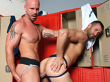 gay porn Jock Strap Fantasy || High Performance Men Exclusive CJ Parker has a bit of a fetish for Jock Straps and Locker Rooms. He also loves guys with big cocks, as evident by his relationship with fellow exclusive Joe Parker! When we asked who he wanted to do a scene with he said he thought that Mitch Vaughn would be very hot to work with and we agreed. So, in an effort to fulfill his fantasy we set this scene in a locker room and both guys are wearing classic jock straps. They waste no time in getting each others clothes off revealing nice bulges in their jocks. Mitch Vaughn is first to his knees as he pulls CJs cock out the side of his jock and gets it all wet. Next CJ returns the favor and devours all 8&amp;#8242; of Mitchs cock. Mitch then bends CJ over the bench and gives him one hell of a rim job before fucking him up against the lockers. The connection and passion these two share with each other throughout this fantasy is intense and erotic at all times. CJ is so turned on riding Mitchs cock that he blows a nice load all over. He then goes to his knees and wants Mitch to shoot all over his hairy chest and being so turned on CJ gives us a second cum shot right before Mitch shoots a huge load covering CJ. This is one hot scene for sure! Enjoy