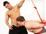 gay porn Doug Acre And Alexande || Bottom-boy Doug Acre is tied with his arms behind his back in the middle of the room when referee Alexander Garrett storms in. The angry ref thinks it is time to teach the bound jock a lesson. Alexander Garrett spanks Doug mercilessly and gives the boy a super wedgie with his wrestling singlet. Finally Doug submits to his top Alexander and is forced to suck his huge Latin, uncut cock Or suffer the consequences.