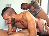 gay porn Bareback Threeway || Italo Gets Stuffed by 2 Barecocks