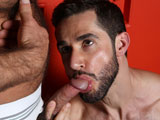gay porn Fur Worship || High Performance Men presents Brad Kalvo and Dean Monroe in FUR WORSHIP. Dean is on all fours licking the feet of Brad in the locker room. He slowly makes his way up Brads massive hairy legs and begins to sniff the man scent out of his jock-strap which is bulging with Brads hard cock throbbing to get out. Dean continues up Brads body to his massive furry chest where he licks and chews on Brads thick hair before the two embrace in a deep passionate kiss. The two soon have their cocks out of their jocks and Dean begins by deep throating Brads hard cock all the way to his hairy crotch. He works over Brads cock and balls all the while loving the thick patch of pubic hair covering everything. Dean then brings his own uncut cock up to Brads and does some docking before Brad is on his knees sucking Deans hard cock. Brad turns Dean around and goes to town eating his beautiful ass as Dean begs him to get his ass all wet so he can fuck him. Brad then gives Dean what he has been begging for and drives his cock deep inside as Dean moans in delight. Dean then climbs on top of Brad and rides his cock with abandon before lying on his back and letting Brad fuck the cum out of him. Brad shoots a nice load all over Deans hairy body and the two lap up each others cum from their fingers before swapping a deep and passionate kiss at the end. Enjoy!