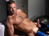 gay porn Slick - Scene 2 || With football in hand, wearing black and blue latex football pants and eye black paint, athletic muscle-man Jake Genesis looks like a rough and tough player who is ready to get down and dirty. Giving his muscles an extra pump, Jake gets down to business. Unlacing the front opening of his football pants he unleashes his bulging manhood. Game On! as Jake takes his thick and meaty cock in hand, slowly stroking his shaft and getting his balls warmed up for a big play to shoot his load.