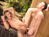 gay porn James Ryder And Drake  || James Ryder is flaunting it in an outdoor shower  colorful tatts, smooth muscles and a long, swelling cock. Hiker Drake Wild wasnt expecting this species of wildlife, but he exploits his luck by finding a spot from which to ogle. He is hard before he can unbutton his pants. Drake is seen by James, whose actions take on a striptease quality. Cupping his pecs, swaying and stroking himself, James lures Drake into the spray, clothes and all. They lock lips under the cascading water, then hold hands and stroll to the deck. His prey firmly in hand, James begins sucking Drakes cock. Its hefty and cut. The fervor with which he sucks, and the expressions on his face convey that he always hoped this would happen and he cant quite believe it did. Drake lets him suck for a long time before returning the favor to this handsome stud who has just made his day. He gives a foamy blow job. On a bench nearby James kneels so Drake can fuck him from behind. Again, his expressions betray a virginal quality that adds another layer of heat to the fucking. James flips over. Both of them are breathing in short gasps now, and James showers his tummy with spooge, quickly followed by Drakes shower of cum on his head and face.