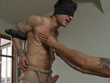gay porn Steve Sterling || Cole is a dynamo of a package, and he's straight too. Arms back on the metal cross we rip his clothes off. When his cock gets hard we teach him about pain and pleasure by working his chest and nipples. Hard cock tied up tight, Cole is suspended and receives a dildo up his virgin ass. The fitness trainer flexes his muscular back as the flogger pounds on it. After being edged all day, this straight stud is begging to blow his massive load.