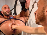 gay porn Element Eclipse And Boyhous || Boyhous reclines in a leather sling, the heavy ring in his nose resembling the chain links by which the sling is suspended. the pouch of his black jock strap has a red center, vividly recalling a lethal spider: handsome, dangerous. Element Eclipse is on his knees, toying with the hairs around Boyhous swollen and hungry hole. Element closes his lips around the hole and sucks, creating a slight mound with a crater in the center. Thats the hole that is about to receive Elements adept fist. Element works the hole first with his mouth and tongue, then he sucks Boyhous cock. Element stands with his huge cock. When Boyhous coaxes his rosebud into emerging, Element fucks him. In this case, the fucking is only the foreplay. Elements cock is followed by his fist, and the rhythm causes the sling to swing, gaining acceleration and amplitude until Elements arm is buried halfway to the elbow. Element withdraws. Boyhous rosebud swells to full bloom as he grabs his cock and directs a golden fountain onto Elements hairy chest and hard, pierced nipples. A rapid-fire sequence of sucking, fucking, rimming and fisting brings both men to a cum-soaked conclusion.