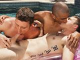 gay porn Buns In The Sun || Joey Hard and his friends Jake Farren and Hollis Emery are just enjoying a summer day out by the pool. Just dicking around with the water cannons, the beach ball, swimming around and wrestling in the pool on a beautiful afternoon. Getting a little tuckered out, Jake reclines on a float, his body glistening in the sun. Joey and Hollis both have the same thing on their minds, and they spring their plan into action, each attacking Jakes speedos from the opposite side. In no time they have Jakes skivvies down around his ankles and they are taking turns sucking his sun drenched cock. Moving this pool party out to the deck, they resume their quest for summer cock as now Jake and Hollis prey on Joeys meatstick. But as good as this double blow job feels, Joey is trying to get fucked, and it is way too hot out here, so the three of them move into the bedroom for a good and proper threesome. Once inside, Joey assumes the position and Jake pushes his cock into Joeys waiting hole while Hollis stuffs Joeys mouth from the other side. Joey is taking it like a true cock pig and loving every minute of it. As Jake pumps him missionary, Joey strokes his cock and cums all over himself as Jake and Hollis both spray him down with their jizz-hoses. Luckily Joeys got a towel nearby.