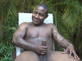 gay porn Luther - Hung Black Nu || Luther is a big buff beautiful black African American jock born in Oklahoma with a winning personality and charm that makes both men and women melt. This 25 year old horny handsome hunk flexes, poses and proudly works naked outdoors in the sun with his BIG muscle bubble butt exposed for ALL to see. This sexy athletic jock has both a GREAT BODY and a HUGE HARD BLACK DICK. &quot;My girlfriend calls my Dick 'Mr. FAT'!&quot; he says on camera with a bright smile as he strokes his FAT COCK! Luther walks around the tropical garden with his heavy dick swinging between his legs and later washes windows with his rock hard dick &amp; big black balls hanging out. Imagine this chocolate hunk as your personal trainer or nudist house boy! What a hung black Stud! &quot;I LOVE washing windows NAKED!&quot; he says with soapy water dripping down his fully exposed brown naked body! Luther is a horse hung Afro American Stud and he knows it. He loves seducing women and talks freely about the list of ladies drawn to his big black cock and killer body! Listen to this friendly Stud talk about enjoying his heavy nut sack licked and played with. He LOVES his balls swallowed! Watch Luther release a heavy load of creamy white cum onto his smooth brown belly and then begin to play with his own jizz! Luther cleans off in a sexy soapy shower scene that is not to be missed. Watch him bend over and soap up his sexy black bubble butt for the camera. He even releases a long stream of piss in the shower! Watching this black Stud pee with a big smile is so sexy! Luther is a welcome addition for our stable of HUNG black Island Studs! Enjoy!