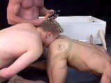 gay porn Three In A Tub || an Insatiable Dildo Pig Is Worked Over by Two Tops Who Also Fill His Mouth With Their Hot Liquids. He Is Then Gets to Piss In a Cup and Drink It.