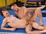 gay porn Initiation || Trevor Knox is known around school for his ability to wrestle. A member of the team for quite some time, hes one of the senior team leaders, and as such, he cares deeply for the rites of passage pertaining to the squad. Kyler Benz is a fresh face, and just looking for something to do. Hes not even sure if he likes wrestling, but hes enlisted Trevor to help show him some moves on the mat. Kyler is pensive in his approach, and Trevor senses that his apprehension. So Trevor lets Kyler in on a little secret well, not a little secret. Noticing the bulge in Kylers tights, Trevor suggests that he and Kyler move on to a lesser known ritual of wrestling practice. Confused, Kyler lay motionless as Trevor whips out his big dick and slaps it against Kylers chest. Kyler is much more adept at this kind of physical contact, immediately plunging Trevors cock deep down his throat. Trevor fucks his face on the mat like that for a few minutes, until he cant contain himself, so he slides his dick into Kylers asshole as Kyler bites his lip in anticipation. Pumping him good now, it occurs to Trevor that Kylers membership on the team would not be without reward, and as he pulls out and blasts Kylers face with a load of hot cum, he decides Kyler is a welcome addition to the squad. Enjoy!