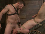 gay porn Morgan Black And Tony  || Tony Hunter is strewn up alone in Morgan Black's playroom and ready for abuse. Morgan torments the boy's nipples until his dick gets hard and then pulls him off the wall by his balls. After a good flogging leaves Tony's ass nice and red, Morgan shoves his cock down the boy's throat while the tight bondage keeps his ass hook firmly in his hole. Tony's endurance is pushed when he's made to bite down on a rope connected to a bowling ball and his own zipper while Morgan crops the boy until he screams. Still hard, Tony is bound to the tilting fuck table and gets his throat and hole filled by Morgan's cock. A hard fuck earns Tony a load on his face and the chance to lick his own load off of Morgan's boot. The boy is left alone in the playroom, awaiting his Master's return.