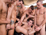 gay porn Hungover || Landon Conrad, Spencer Fox, Dylan Hauser, Jimmy Durano and Connor Maguire are all anxious to get down and party hearty before their service buddy, Chris Tyler, heads out on another deployment. With all the macho bravado and testosterone bouncing off the walls, no one, not even the pizza delivery man, is safe. Dylan is the first to sample the choice slabs of meat from the buffed-up buffet as he begins sucking on Jimmys horsedick and Chris follows suit guzzling down Spencers cock. And Landon and Parker London (the pizza guy) get busy quick as they trade off sucking down each others big salamis. The man action rages on non-stop especially when Dylan adds Connors cock to his happy meal. Theres a lot more man-on-man action for all the guys to gobble up from their self-made smorgasbord. Its bottoms up for Parker London and Chris Tyler as they yield their assholes to Spencer Fox and Connor Maguire respectively, while Dylan Hauser does double duty getting fucked by Jimmy Durano in his hole and Landon Conrad down his gullet. All the debauched sensations the men are experiencing can be measured by all their moaning and groaning. The louder it gets, the more pleasurable it is. Theres no limit to their shared hedonism and things get real crazy when first Dylan and then Chris get gangbanged. And to make sure Chris gets the send-off he deserves, all his friends salute him with shots of cum.