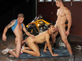 gay porn Big Toy Boy || Steven Shields has a new toy in his garage and he cant wait to show it off. Its big and powerful and raring to go. Anthony Romero and his boy toy, Sergio Long, are not that impressed with the ATV Steven is straddling, but the toy between his legs is a whole nother story. When it comes to horsepower, Anthony would definitely rather see what Steven is packing under the hood, and he wastes no time finding out, diving face first into Stevens zipper and going straight for the cock. Sergio jealously watches from the sidelines, pulling out his dick and stroking it, but without permission to join, he is forced to watch Anthony bring Steven to red line status before taking him balls deep in his ass. Steven really opens up the throttle as he pounds Anthonys ass, before he finally blows a gasket all over Anthonys chest.
