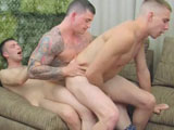gay porn Sergeant Slates Triple || Sergeant Slate caught two privates goofing off when they shouldn't have been. Slate's a bad ass and knows how to discipline a soldier and bring him in line. He makes the men do push ups, alternating with leg lifts until they're exhausted. He orders them to their feet. Now he's decided there's a different kind of corporal punishment these guys deserve. Ordering them to bend over and take their trousers down, he explains that he's going to show them how to be bitches. Once their firm military asses are offered up, he probes their holes with his fingers. He orders them to use both hands to spread their cheeks, giving him better access to double finger their holes. He tells them to get on their knees so they can pleasure him. Next Slate orders Axel onto his back, where the Sergeant sits on his stiff cock. Slate orders Jayden to suck his cock while he rides Axel, grunting and groaning each time he sits down firmly on the stiffy. Now Jayden spins around and sits on Slate's cock, while he's still impaled by Axel's wood. Finally, both privates are ordered to their feet. Slate kneels in front of them, ready to take their loads. Axel explodes a stream of white cum into his Sergeant's mouth and onto his bulging, muscular chest. A few seconds later, Jayden's giant cock finishes the job, covering Slate's tongue and cheek with another river of jizz.