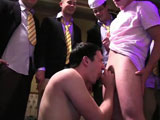 gay porn All Wrapped Up - Part  || Pledges in saran wrap, bobbing for dildos, and jalapeno blow jobs, that sounds like some serious hazing, the type of hazing winners do. that's why this weeks winners took the cake! The brothers meticulously wrapped their pledges up they also humiliate them by tea bagging, and making them squeal like pigs. and just left them out in the middle of campus as classes let out and everyone began to walk by. later they gave these would be frat boys a quick quiz on the history and motto's of their dear fraternity. a wrong answer resulted in drinking extremely sweet kool-aid. after the pledges had to bob for dildos while naked and in a tub of kool-aid water. but the evening highlight was the jalapeno blow jobs. The pledges had to rub jalapeno's on each others cocks and the only thing that would save them from the burn was a mouth full of milk.