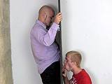 David Comes Over for a Quickie At the Gloryhole, and Cody Is Up for the Job. He Sucks David's Cock so Good That David Barely Gets Hard Before He Cums Unexpectedly In Cody's Mouth and Down His Hand.