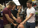 gay porn Jacques Johnny Justin  || Ripped, hung stud volunteers to get used in a store and changes his mind when things get rough.