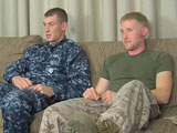 gay porn Petty Officer Aiden's  || Petty Officer Aiden is a newbie to the Navy. Tall, handsome, and still a little wet behind the ears, Aiden has already decided he is going to be a lifer in the service. Strapping young Jay has a few more years of service under his belt and is more than willing to show Aiden the ropes. Jay enjoys the company of fresh meat and the two swap stories from boot camp and a few more personal experiences. Aiden's claim to fame is that he banged Miss California at a party in northern California once. Jay is intrigued by this tale and wants to see who gives the better blowjob, him or Miss California. The young soldiers get their cocks in hand and start to reprimand them underneath their cammies. Jay leans over and takes Aiden's thick meat sword into his throat. Jay bobs up and down on Aiden's big uncut dick getting it rock hard in seconds. He pulls off Aiden's uniform and exposes his muscular chest and stunning Navy tattoos. Jay offers up his own cock for a little reciprocation and Aiden goes right for it. Aiden hits his cock sucking stride quickly and brings Jay to the brink. Jay launches a big white wad all over Aiden's soft cheek. Rope after rope of semen squirts from the pink head with seemingly no end. Relieved of his load, Jay leans down to finish the job he started with young Aiden's rod. Aiden blows his own prize into Jay's wet hungry mouth.