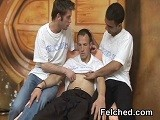 gay porn Threesome Gay Felching || Three Horny Gay Men In a Threesome Bareback Anal Fuck With Unloading of Warm Sperm In the Hole and Felching.