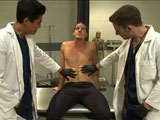 gay porn Kip Johnson || Van and Sebastian are up to no good again, looking for hot guys to edge. After holding up a doctor's office and impersonating the physicians, they wait for the two o'clock appointment Kip Johnson to arrive. Kip walks in for his physical, none the wiser. Kip removes his clothes as the two perverts inspect his body, admiring his muscles and big dick. The impostors lie Kip down on the medical table and restrain him as they start playing with his cock. Kip fights and screams but they cover his mouth and continue their torment, teasing his cock while tickling his entire body. Kip finds himself strapped down in the medical chair with electrodes attached down his legs and feet. His balls are tied tight with medical piping as an electric butt plug is shoved up the stud's ass. Pulses of electricity surge through his body as his cock is relentlessly edged. After tormenting Kip's nipples and fucking his hole, the two perverts milk a load out of his giant cock and feed it back into his mouth. They finish him off with some post-orgasmic torment before leaving him bound in his own cum.