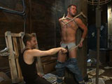 "gay porn Mike De Marko || Van and Sebastian hide out in a cruisy alleyway waiting for a hot stud to pass by. A few guys walk past but they're not interested, until Mike De Marko happens to stroll by. Van and Sebastian agree he's the perfect guy so they pounce on him and quickly beat him down. Mike finds himself bound with duct tape around his mouth as the two pervs approach. They tear off his clothes and tease his cock. His giant cock grows rock hard as Sebastian swallows every inch, tantalizing Mike with his tongue. Mike's suspended in the air with his balls tied to a rock, stretching them to the max as he swings in the air. The pervs shove dildos in his mouth and ass as they relentlessly edge his massive cock. After fucking Mike's ass with the ""fucksall"" the pervs turn him over and milk all the cum out of his cock before shoving it back in his mouth. They finish him off with some tickling and post-orgasmic torment before leaving him and his giant cock bound."