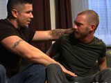 gay porn Jordan Foster And Tren || Trenton Ducati picks up a hot boy, Jordan Foster from the gas station and brings him back to his place. Trenton pounces on the boy and tears his clothes off to bind and gag him. The bound stud has clothespins clamped across his chest as Trenton teases the boy's cock. So turned on, Trenton takes out his hard cock and fucks Jordan's ass as he screams for help. Trenton drags Jordan back to his hidden padded cell and locks the boy up in chains. When Trenton discovers that Jordan has escaped his restraints, he torments the boy with the zapper before shoving his cock down Jordan's throat. Jordan's arms are tied up to the ceiling as Trenton flogs him all over. Back in Trenton's bedroom, Jordan is mummified with his cock exposed as Trenton teases his captive's cock. The muscled pervert teases Jordan's nipples before tearing a hole on Jordan's ass, ready for a fucking. Trenton rams his cock up the boy's ass before milking all the cum out of his cock. Jordan's finished off with Trenton's cum all over his face before he's carried off back to the padded cell.