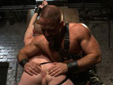 gay porn Dirk Caber And Damien  || Dirk Caber brings Damien Moreau to his play space and shoves the boy's face into his armpit. Neither one willing to submit, Dirk and Damien go back and forth to determine who's exactly in control. Dirk overpowers the boy and grabs Damien's hands, locking them up above his head. Mr Caber kneels down to Damien's rock hard cock and bites down on it as Damien screams for mercy. He's then brought to his knees for Dirk to teach him a lesson in how to suck cock. Damien swallows his master's cock as Dirk beats the boy down into submission. Suspended in the air, Damien swings back and forth as Dirk pulls him by the balls before bringing him down to cock sucking height. He shoves his hard cock down the boy's throat before shoving an electric butt plug up Damien's ass with electrodes stuck to his thighs. Damien's hard cock throbs as electricity surges through him as he's let down and chained to the wall for a flogging. The boy's screams fill the room as Dirk beats him front to back with the flogger. Chained down on the bed with a ball gag in his mouth, Damien's hole is presented for Dirk's hard cock. He fucks Damien hard in the ass before spraying his cum all over the boy's face and having him suck it clean.
