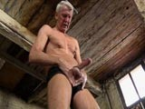 gay porn Hung Daddy Jerks Off || This Hung Daddy Loves Working His Cock as He Pulls Hard on His Nipple Clamps