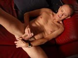 gay porn Skinny Bald Daddy Jerk || This Skinny Bald Daddy Jerks Off on His Leather Couch