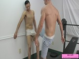 Kyle Broke the Rules of His Frat House, by Having a Girl Over After Curfew, so His Older Frat Mate, Cameron Kincade Has to Teach Him a Lesson. He Confronts Young Kyle While He Is Working Out, Immediatly Putting His Foot on His Balls, Then Takes It to Hard Knees and Kicks Against the Wall, Then on the Ground.<br /><br />kyle Is Not a Quick Learner, and May Be a Repeat Offender...<br /><br />cameron Went Around Asking Some Questions, and Found Out That This Is Not the First Time That Young Kyle Has Broken the Rules....<br /><br />just When Kyle Though the Worst Was Over, He Is Checking Is Balls to Make Sure They Are Still Intact When His Older Frat Mate Cameron Walks Back In on Him and Has to Break His Balls Again.
