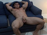 Muscle Hunk Strokes On Sofa ||