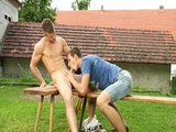 Benjamin Dunn and Danny Gell Are Sucking Each Other's Dicks In the Late Afternoon In Front of the House.