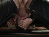 gay porn Christian Wilde And Da || Dakota Wolfe waits on all fours as dom of the house Christian Wilde approaches with crop in hand. He beats the boy till his milky skin turns nice and red before shoving Dakota's face in his crotch. After swallowing his master's cock, the boy is bent over backwards as Mr Wilde takes out his flogger. He flogs Dakota's hard cock as it points straight to the sky before turning him over and flogging his backside. Electrodes attach down Dakota's thighs as an electric butt plug slides into his hole. The bound sex slave bites down on his bit gag as electricity surges through his hole. Finally, Dakota's hole is stretched open for his master's cock as Christian pounds his hole and rewards the boy with a face full of cum.